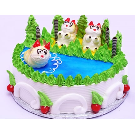 CC52 Fresh Cream Animal Cake-min